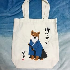 Japan Shibainu Shoulder Tote (Are you a samurai?)